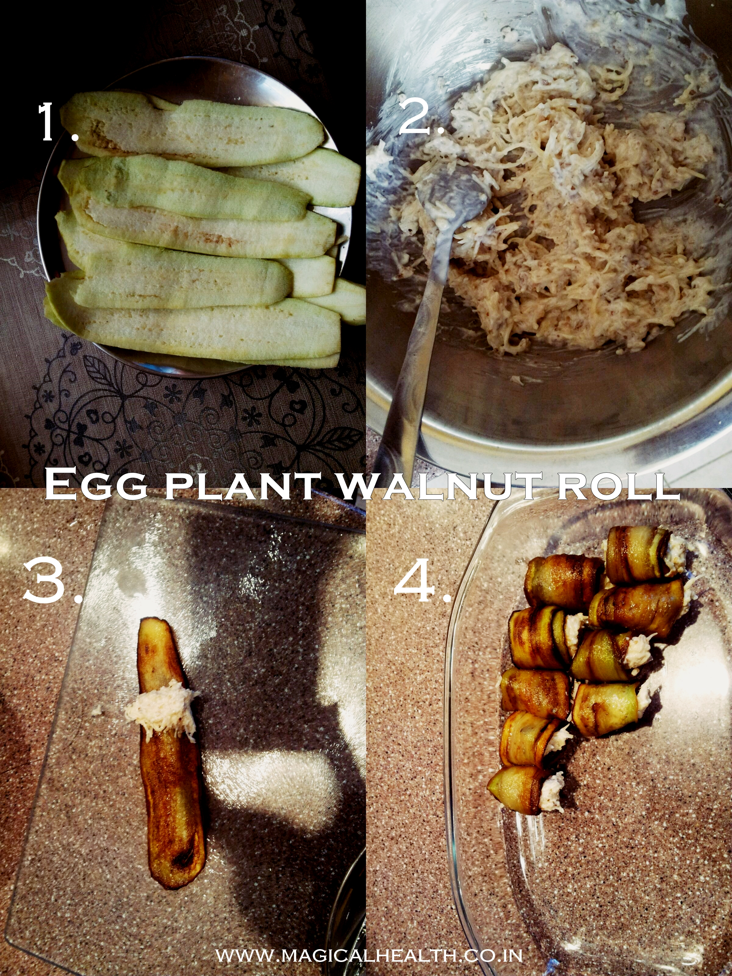 Recipes for Snacking- Eggplant Walnut Roll